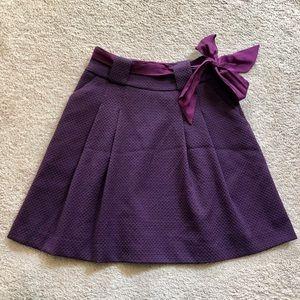 H&M Purple Pleated Skirt with Satin Belt Sz 2